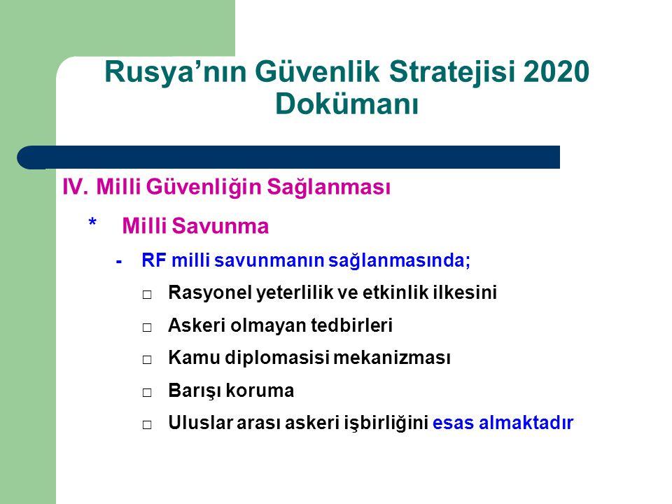 Rusya'nın Güvenlik Stratejisi 2020 Dokümanı