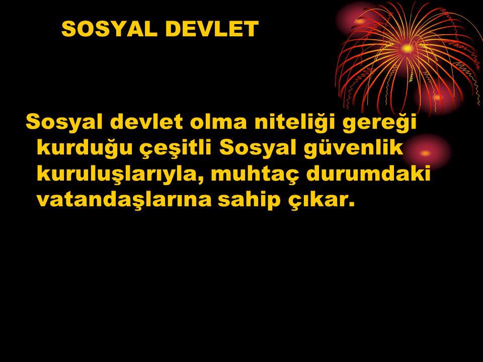SOSYAL DEVLET Sosyal devlet olma niteliği gereği kurduğu çeşitli Sosyal güvenlik kuruluşlarıyla, muhtaç durumdaki vatandaşlarına sahip çıkar.