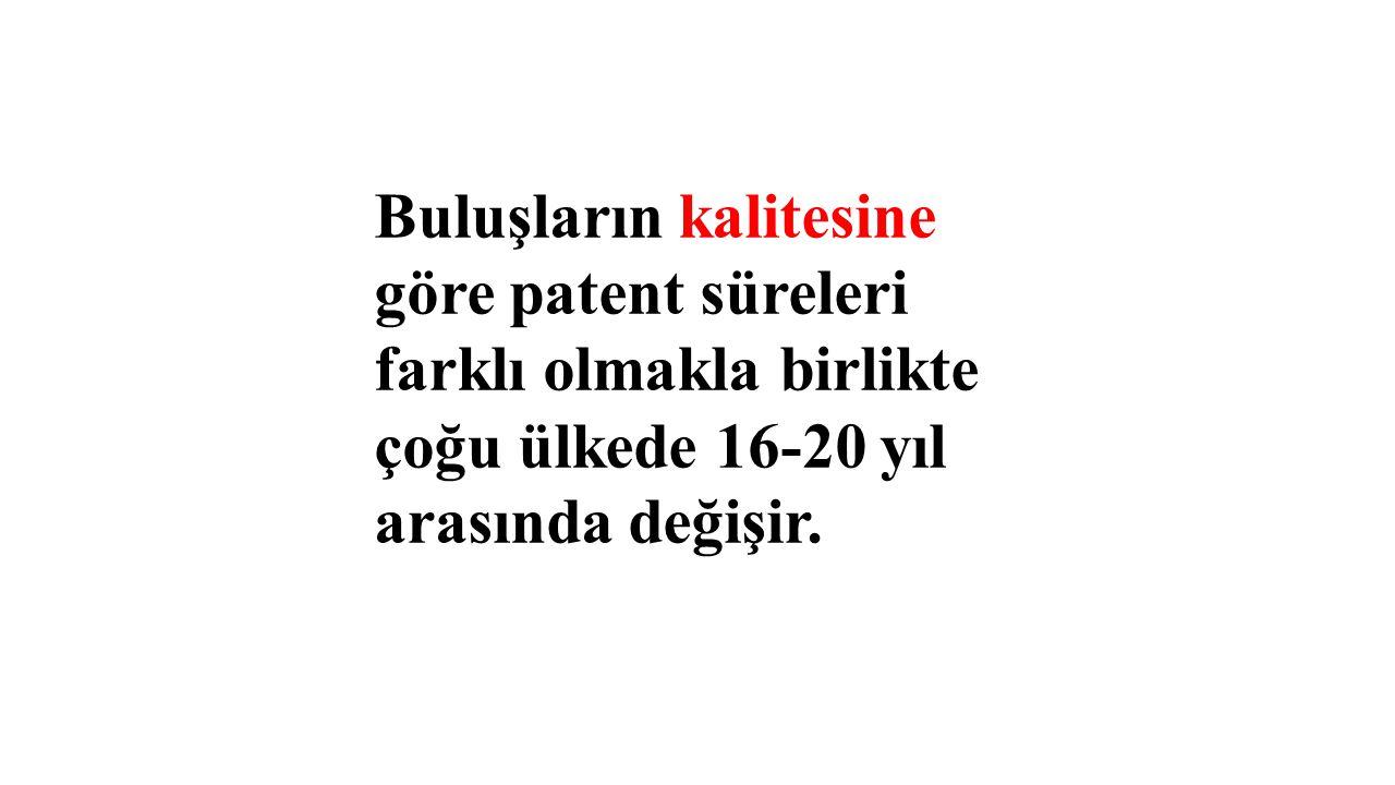 Buluşların kalitesine göre patent süreleri farklı olmakla birlikte çoğu ülkede 16-20 yıl arasında değişir.