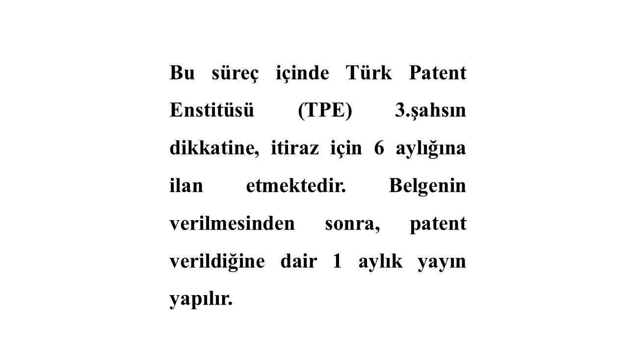 Bu süreç içinde Türk Patent Enstitüsü (TPE) 3