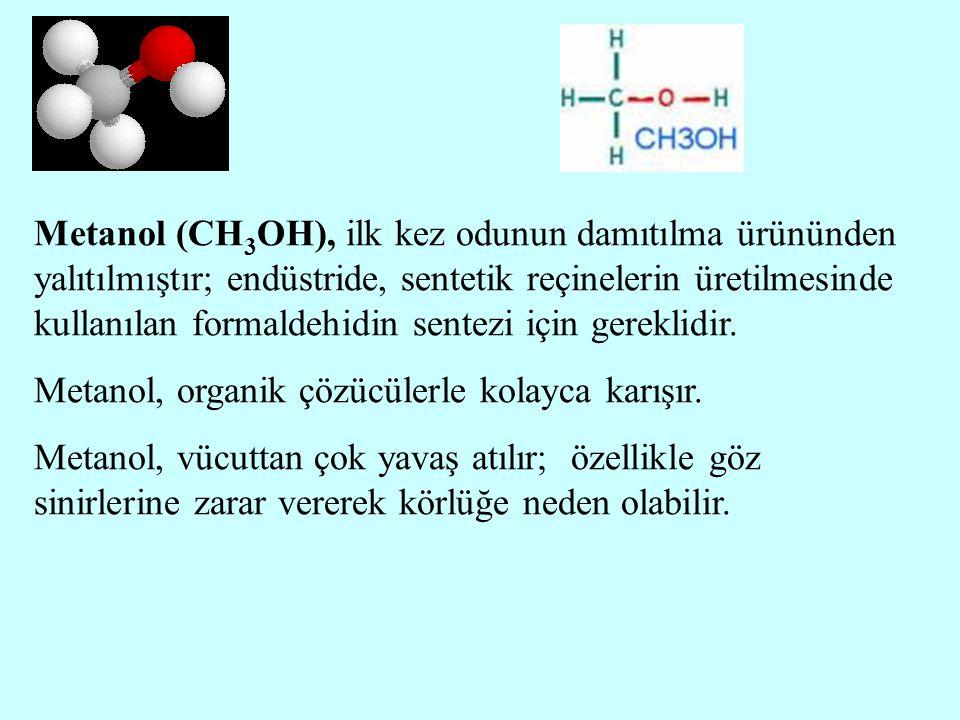 Metanol (CH3OH), ilk kez odunun damıtılma ürününden yalıtılmıştır; endüstride, sentetik reçinelerin üretilmesinde kullanılan formaldehidin sentezi için gereklidir.