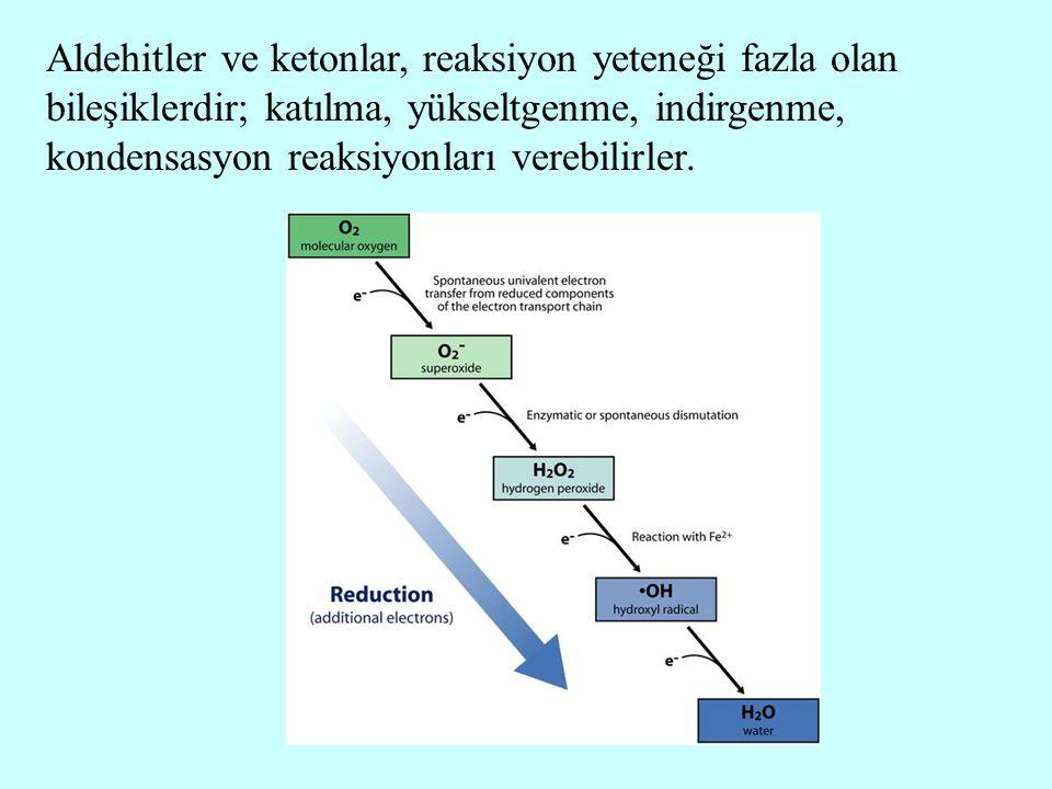 Aldehitler ve ketonlar, reaksiyon yeteneği fazla olan bileşiklerdir; katılma, yükseltgenme, indirgenme, kondensasyon reaksiyonları verebilirler.