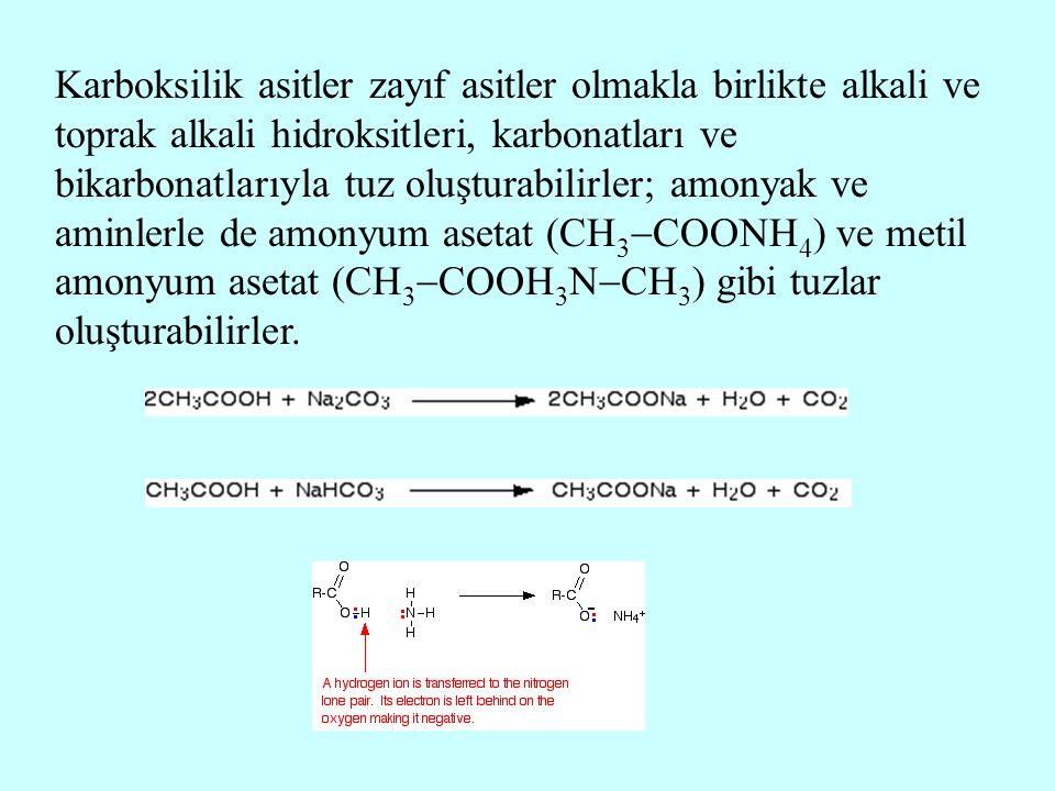 Karboksilik asitler zayıf asitler olmakla birlikte alkali ve toprak alkali hidroksitleri, karbonatları ve bikarbonatlarıyla tuz oluşturabilirler; amonyak ve aminlerle de amonyum asetat (CH3COONH4) ve metil amonyum asetat (CH3COOH3NCH3) gibi tuzlar oluşturabilirler.