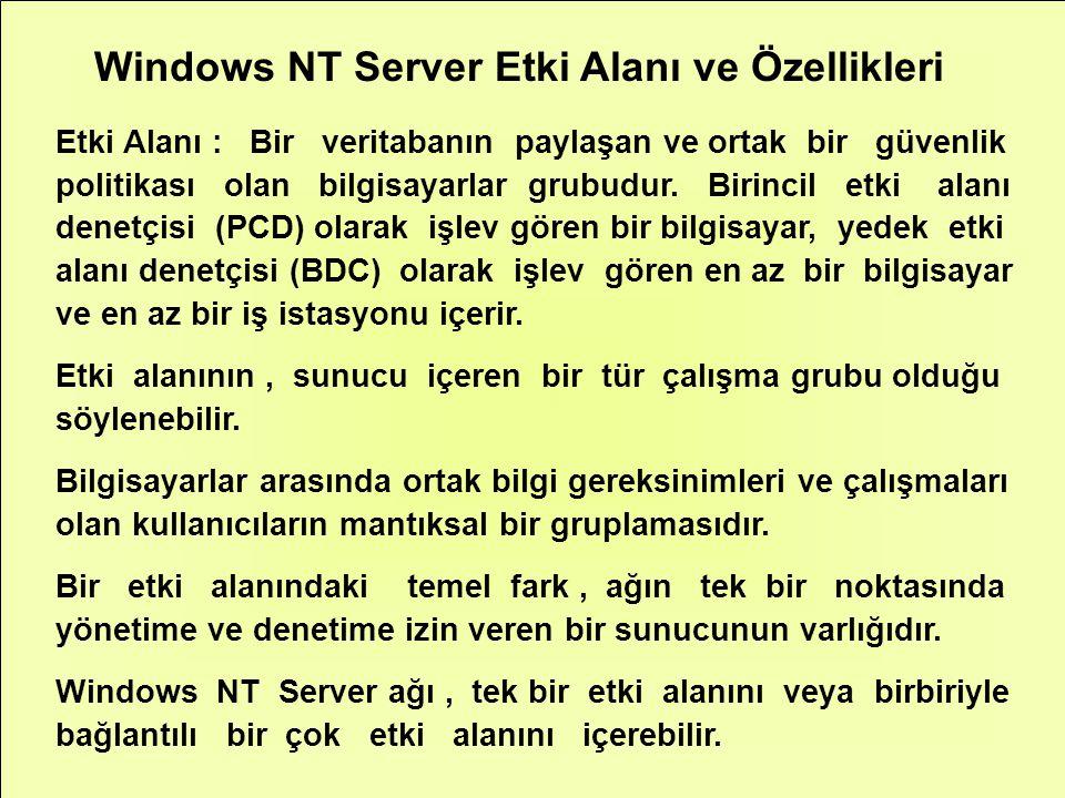 Windows NT Server Etki Alanı ve Özellikleri