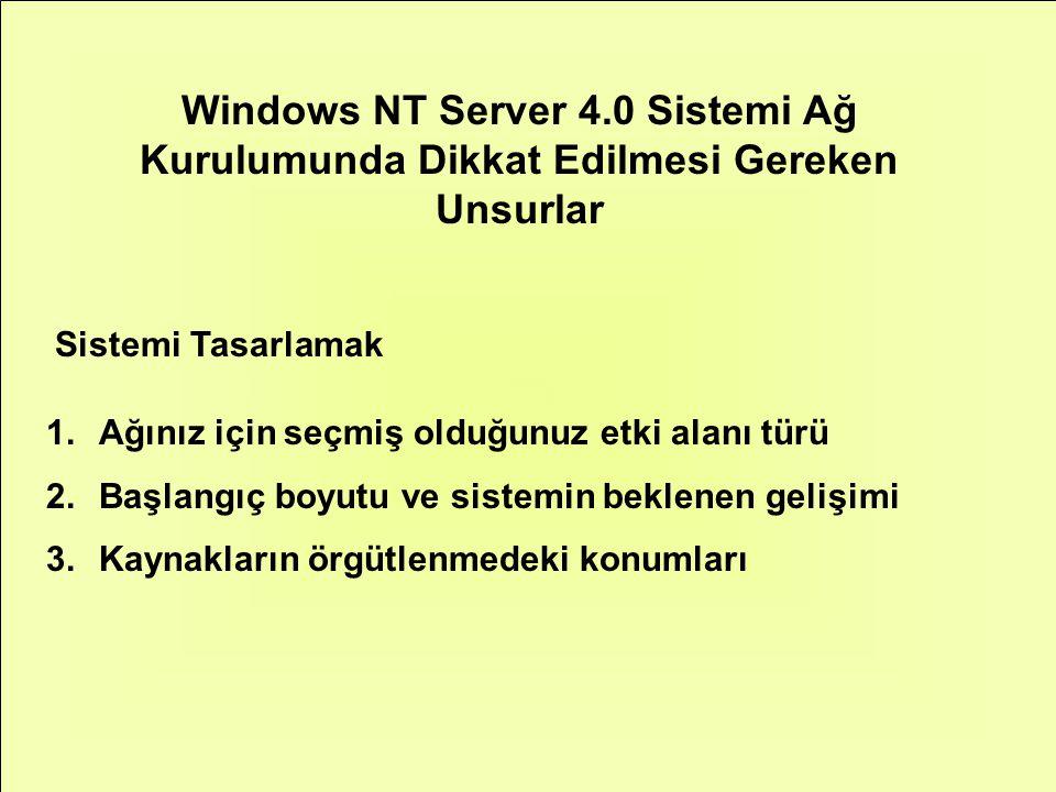Windows NT Server 4.0 Sistemi Ağ Kurulumunda Dikkat Edilmesi Gereken Unsurlar