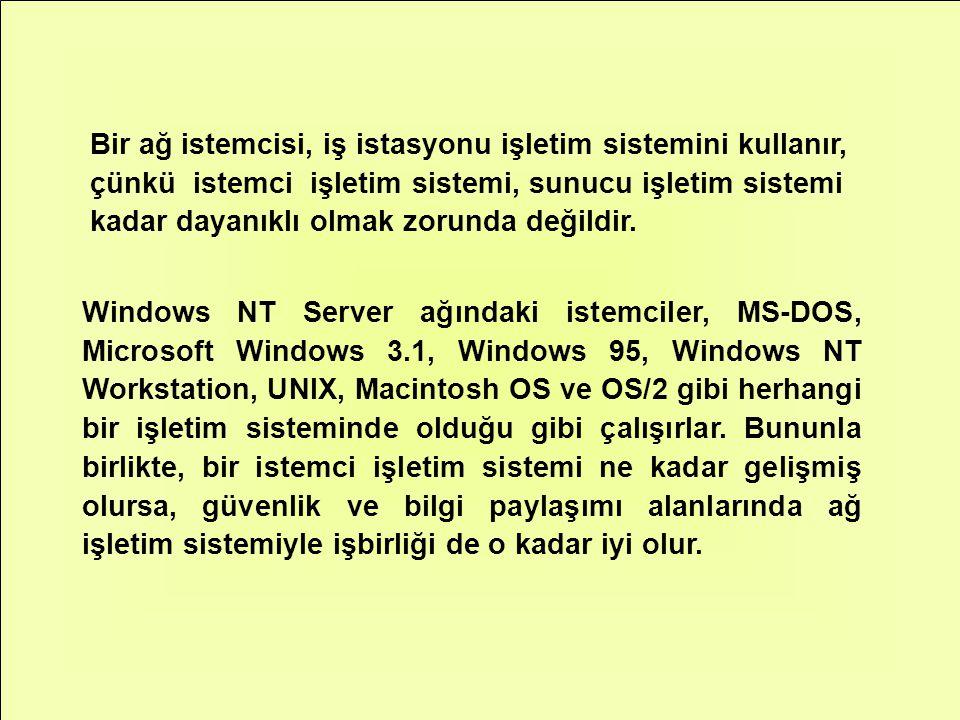 Bir ağ istemcisi, iş istasyonu işletim sistemini kullanır, çünkü istemci işletim sistemi, sunucu işletim sistemi kadar dayanıklı olmak zorunda değildir.