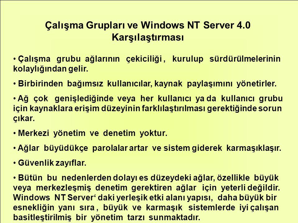 Çalışma Grupları ve Windows NT Server 4.0 Karşılaştırması