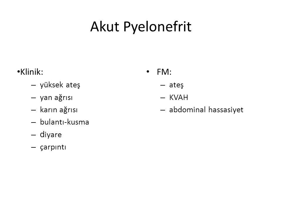 Akut Pyelonefrit Klinik: FM: yüksek ateş yan ağrısı karın ağrısı