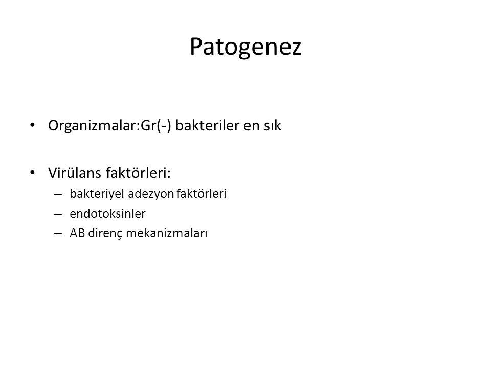 Patogenez Organizmalar:Gr(-) bakteriler en sık Virülans faktörleri: