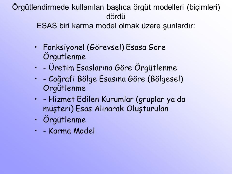 Örgütlendirmede kullanılan başlıca örgüt modelleri (biçimleri) dördü ESAS biri karma model olmak üzere şunlardır: