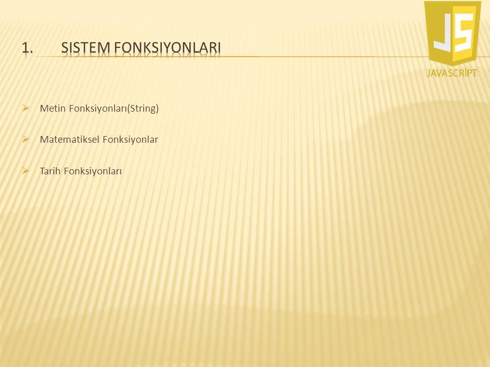 Sistem FonksiyonlarI Metin Fonksiyonları(String)