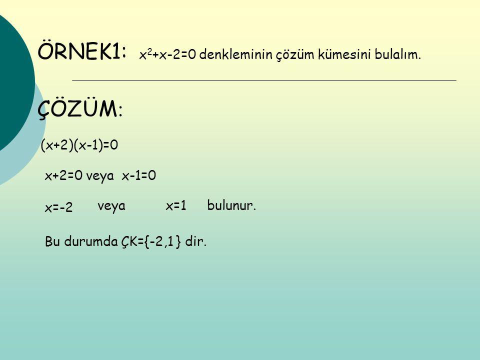 ÖRNEK1: ÇÖZÜM: x2+x-2=0 denkleminin çözüm kümesini bulalım.