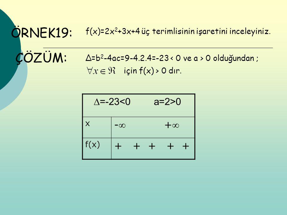 ÖRNEK19: ÇÖZÜM: ∆=-23<0 a=2>0 - + + + + + +