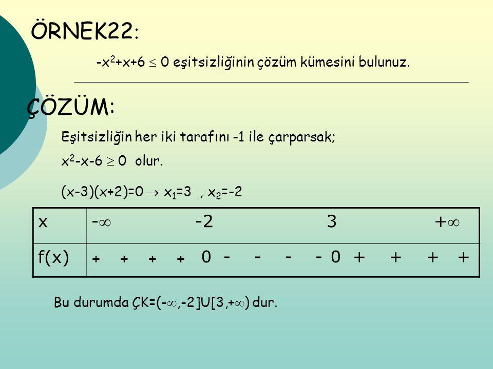 ÖRNEK22: ÇÖZÜM: x - -2 3 + f(x)