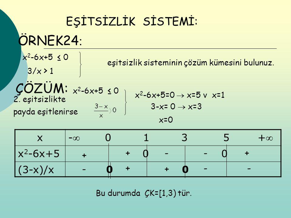 ÖRNEK24: ÇÖZÜM: EŞİTSİZLİK SİSTEMİ: x - 0 1 3 5 + x2-6x+5 0 0