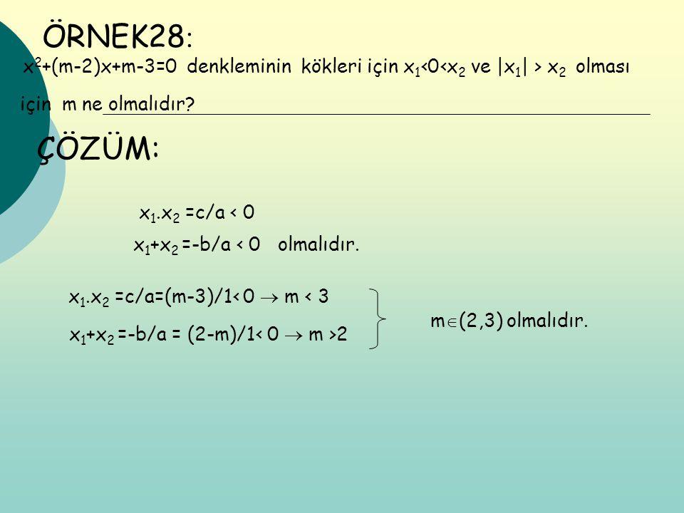 ÖRNEK28: x2+(m-2)x+m-3=0 denkleminin kökleri için x1‹0‹x2 ve |x1| > x2 olması. için m ne olmalıdır