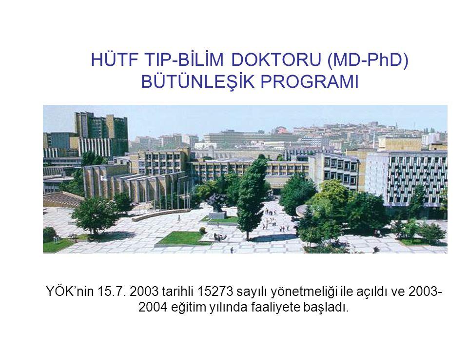 HÜTF TIP-BİLİM DOKTORU (MD-PhD) BÜTÜNLEŞİK PROGRAMI