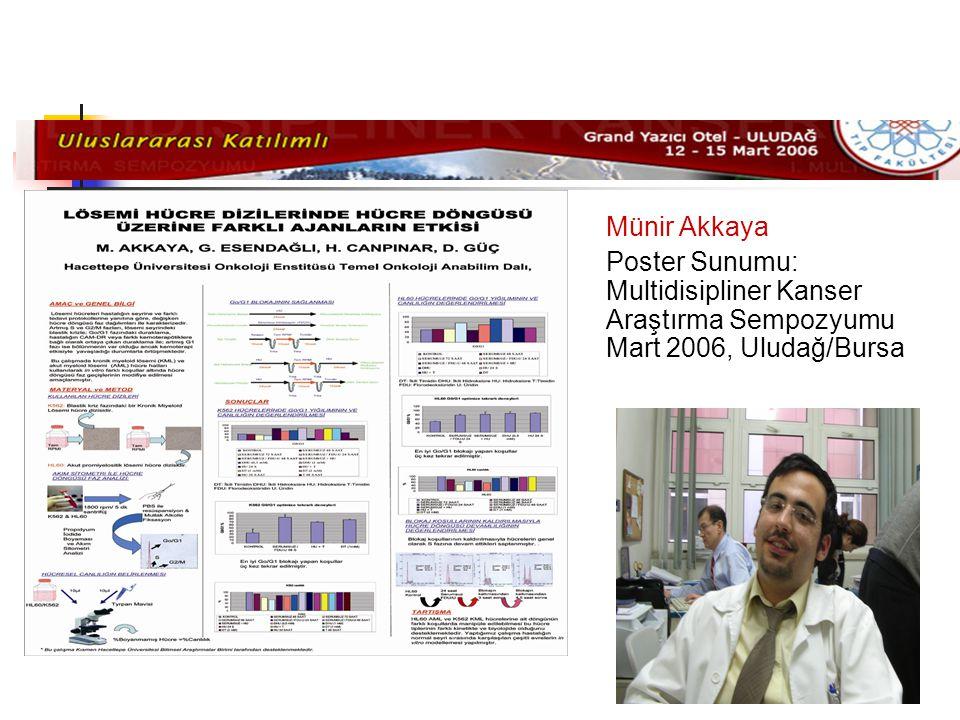 Münir Akkaya Poster Sunumu: Multidisipliner Kanser Araştırma Sempozyumu Mart 2006, Uludağ/Bursa