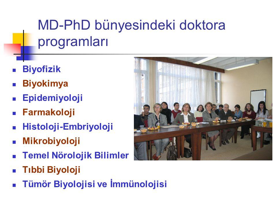 MD-PhD bünyesindeki doktora programları