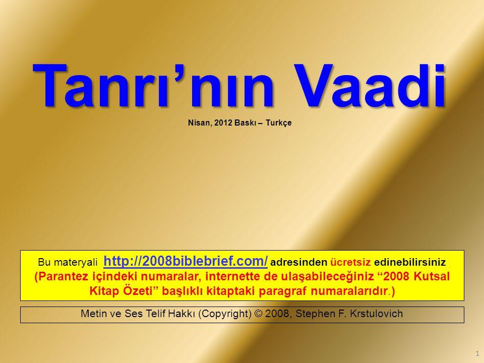 Tanrı'nın Vaadi Nisan, 2012 Baskı – Turkçe