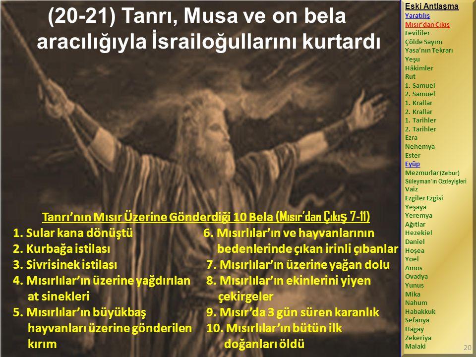 (20-21) Tanrı, Musa ve on bela aracılığıyla İsrailoğullarını kurtardı
