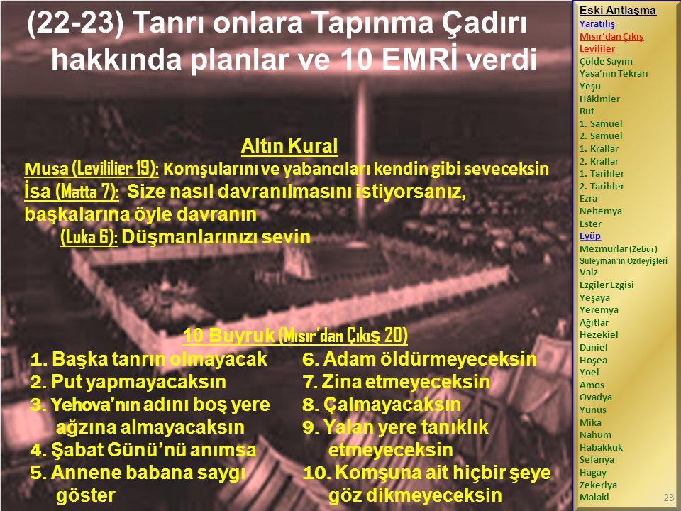 (22-23) Tanrı onlara Tapınma Çadırı hakkında planlar ve 10 EMRİ verdi