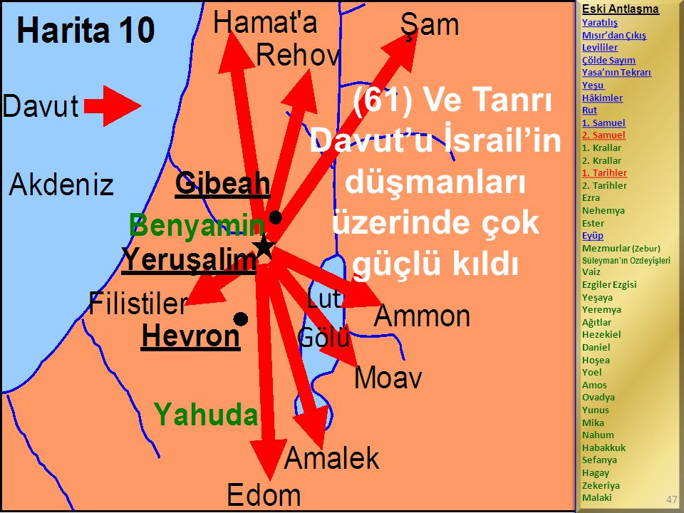 (61) Ve Tanrı Davut'u İsrail'in düşmanları üzerinde çok güçlü kıldı