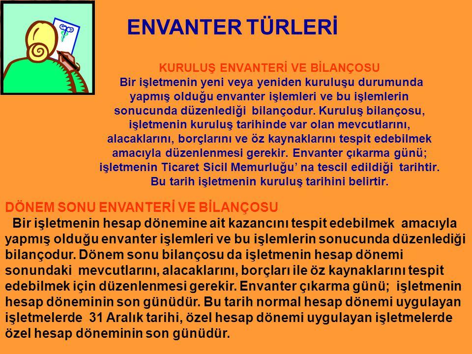 ENVANTER TÜRLERİ DÖNEM SONU ENVANTERİ VE BİLANÇOSU