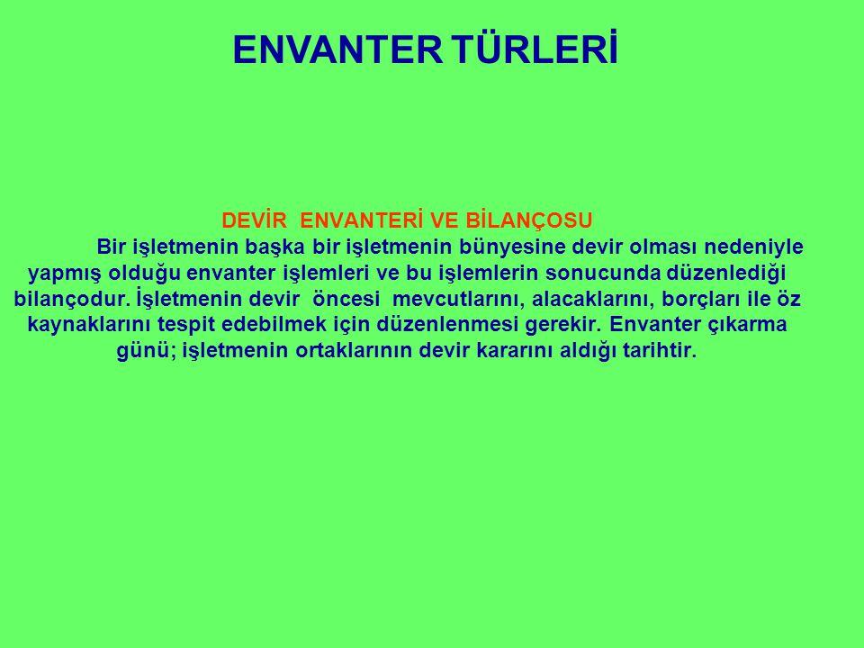 ENVANTER TÜRLERİ