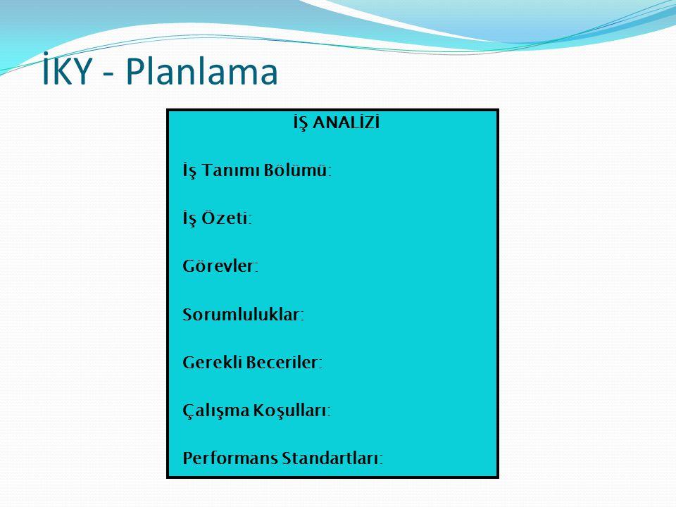 İKY - Planlama İŞ ANALİZİ İş Tanımı Bölümü: İş Özeti: Görevler: