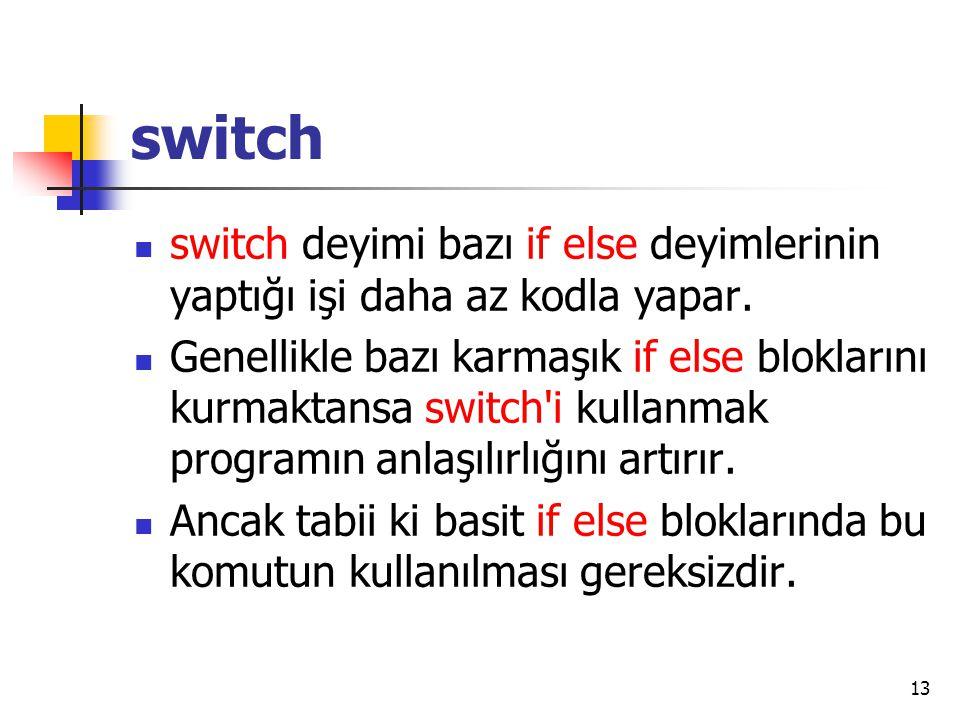 switch switch deyimi bazı if else deyimlerinin yaptığı işi daha az kodla yapar.