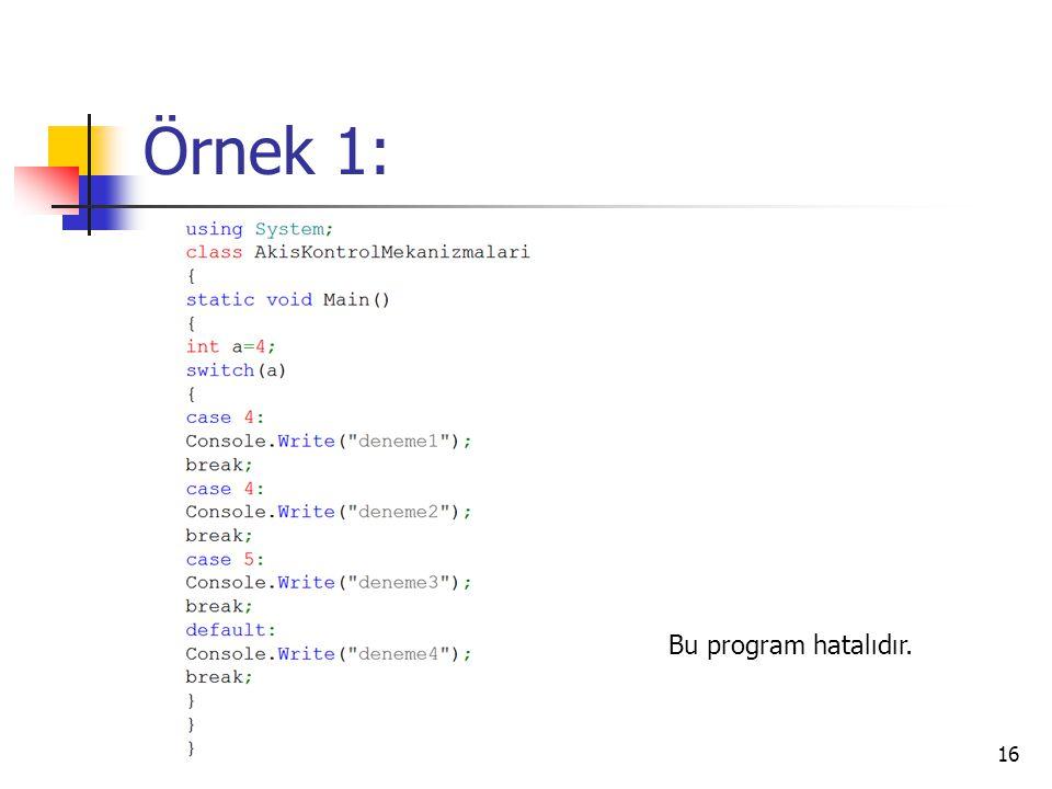 Örnek 1: Bu program hatalıdır.