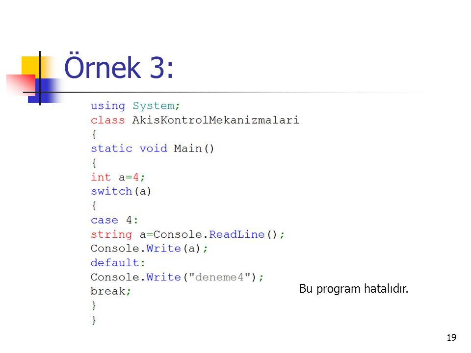 Örnek 3: Bu program hatalıdır.