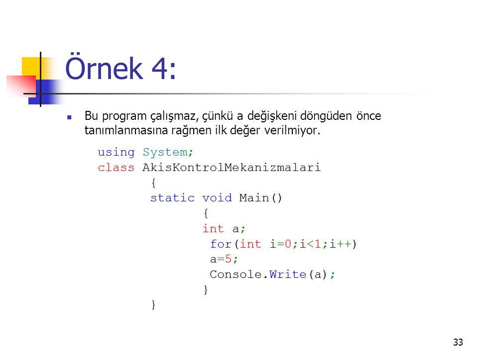 Örnek 4: Bu program çalışmaz, çünkü a değişkeni döngüden önce tanımlanmasına rağmen ilk değer verilmiyor.
