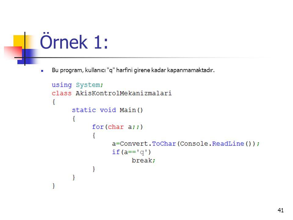 Örnek 1: Bu program, kullanıcı q harfini girene kadar kapanmamaktadır.
