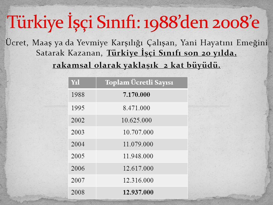 Türkiye İşçi Sınıfı: 1988'den 2008'e