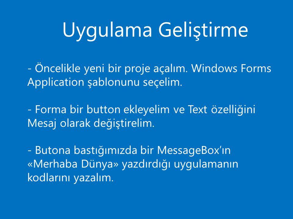 Uygulama Geliştirme - Öncelikle yeni bir proje açalım. Windows Forms Application şablonunu seçelim.