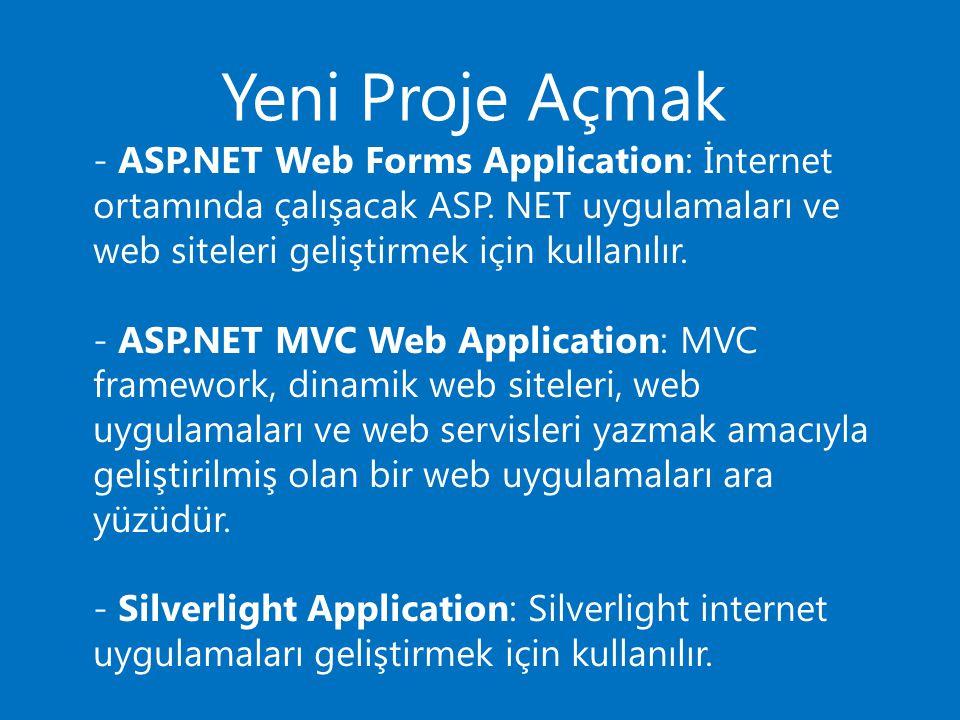 Yeni Proje Açmak - ASP.NET Web Forms Application: İnternet ortamında çalışacak ASP. NET uygulamaları ve web siteleri geliştirmek için kullanılır.
