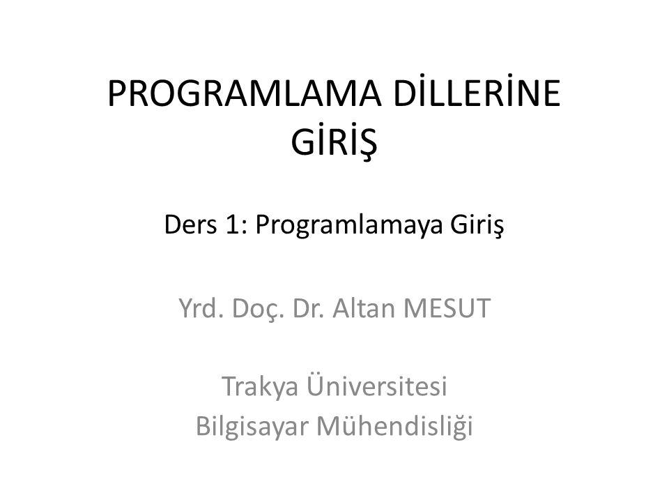PROGRAMLAMA DİLLERİNE GİRİŞ Ders 1: Programlamaya Giriş