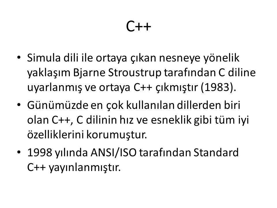 C++ Simula dili ile ortaya çıkan nesneye yönelik yaklaşım Bjarne Stroustrup tarafından C diline uyarlanmış ve ortaya C++ çıkmıştır (1983).