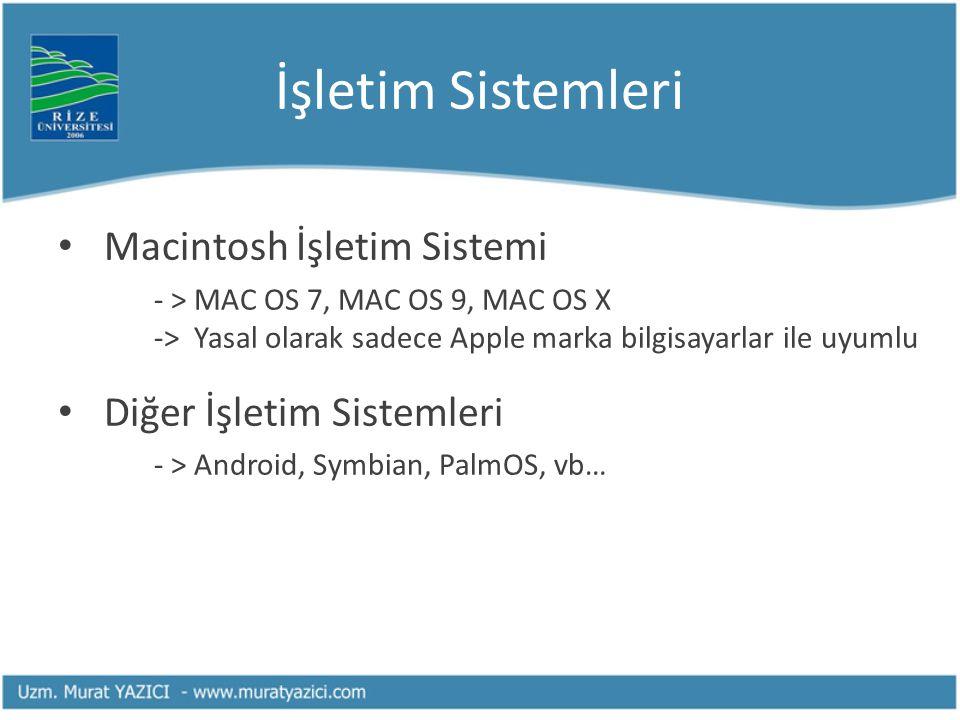 İşletim Sistemleri Macintosh İşletim Sistemi