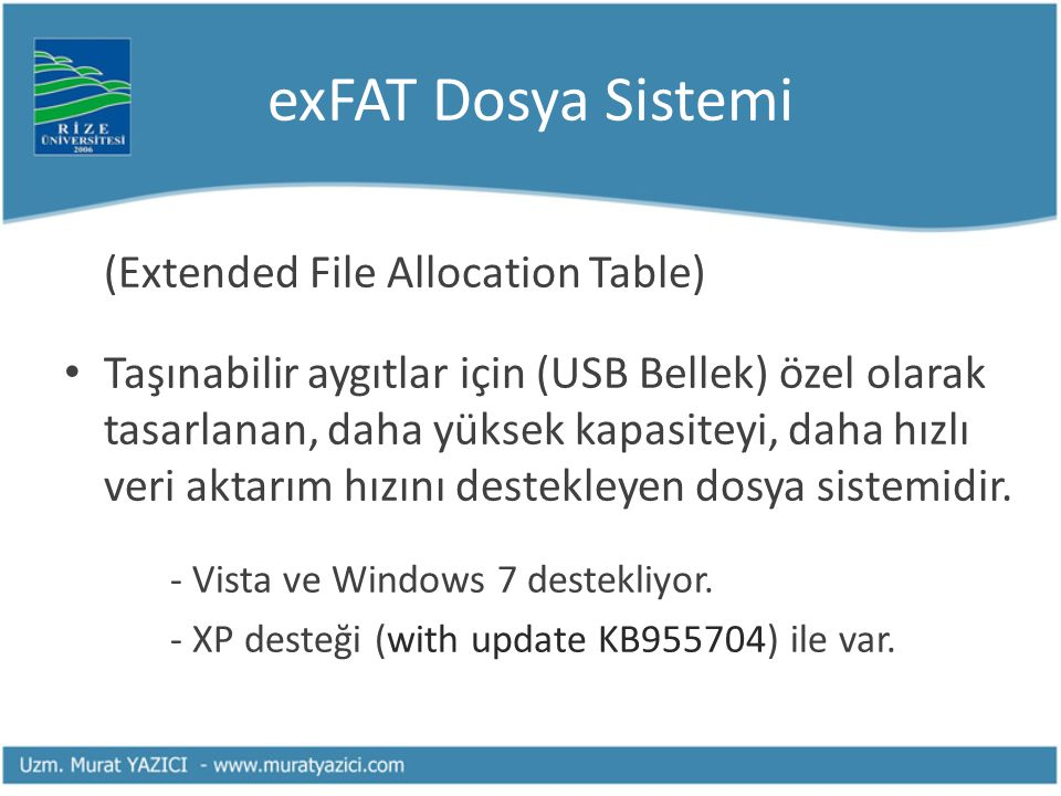 exFAT Dosya Sistemi (Extended File Allocation Table)