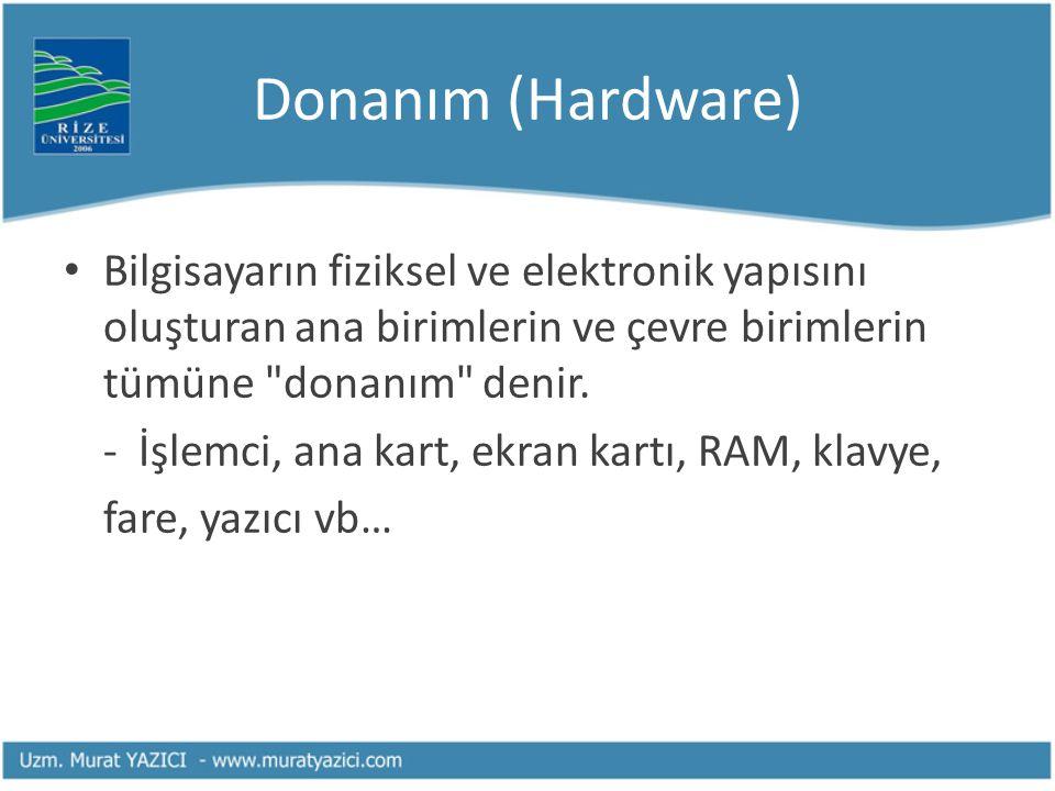 Donanım (Hardware) Bilgisayarın fiziksel ve elektronik yapısını oluşturan ana birimlerin ve çevre birimlerin tümüne donanım denir.
