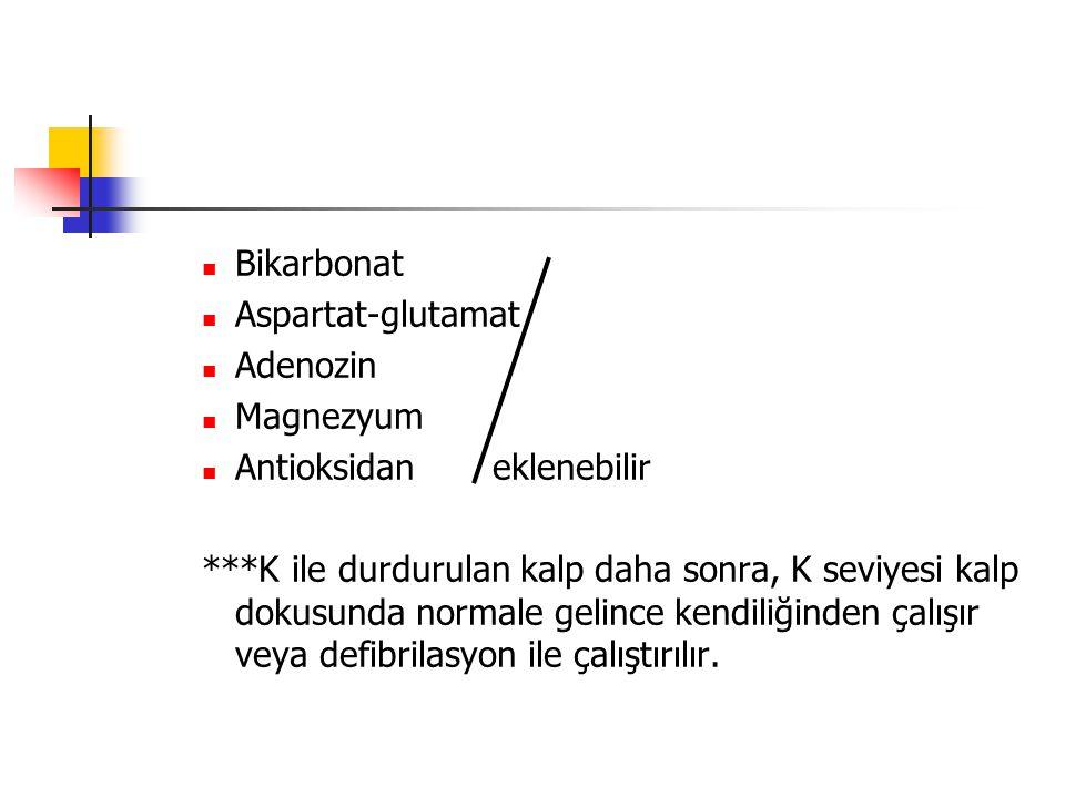 Bikarbonat Aspartat-glutamat. Adenozin. Magnezyum. Antioksidan eklenebilir.