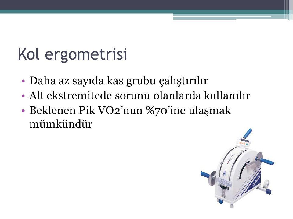 Kol ergometrisi Daha az sayıda kas grubu çalıştırılır