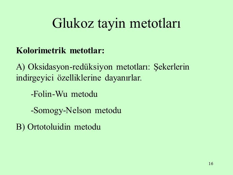Glukoz tayin metotları
