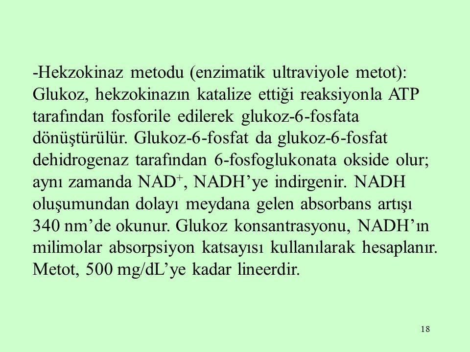 -Hekzokinaz metodu (enzimatik ultraviyole metot): Glukoz, hekzokinazın katalize ettiği reaksiyonla ATP tarafından fosforile edilerek glukoz-6-fosfata dönüştürülür.