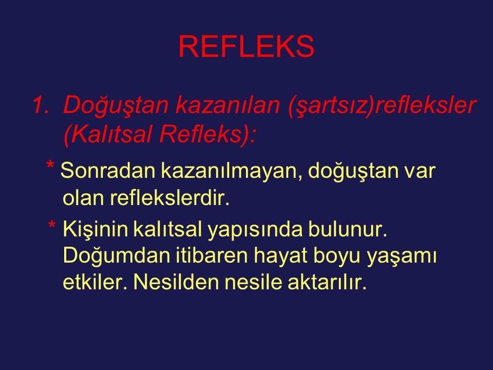 REFLEKS Doğuştan kazanılan (şartsız)refleksler (Kalıtsal Refleks):