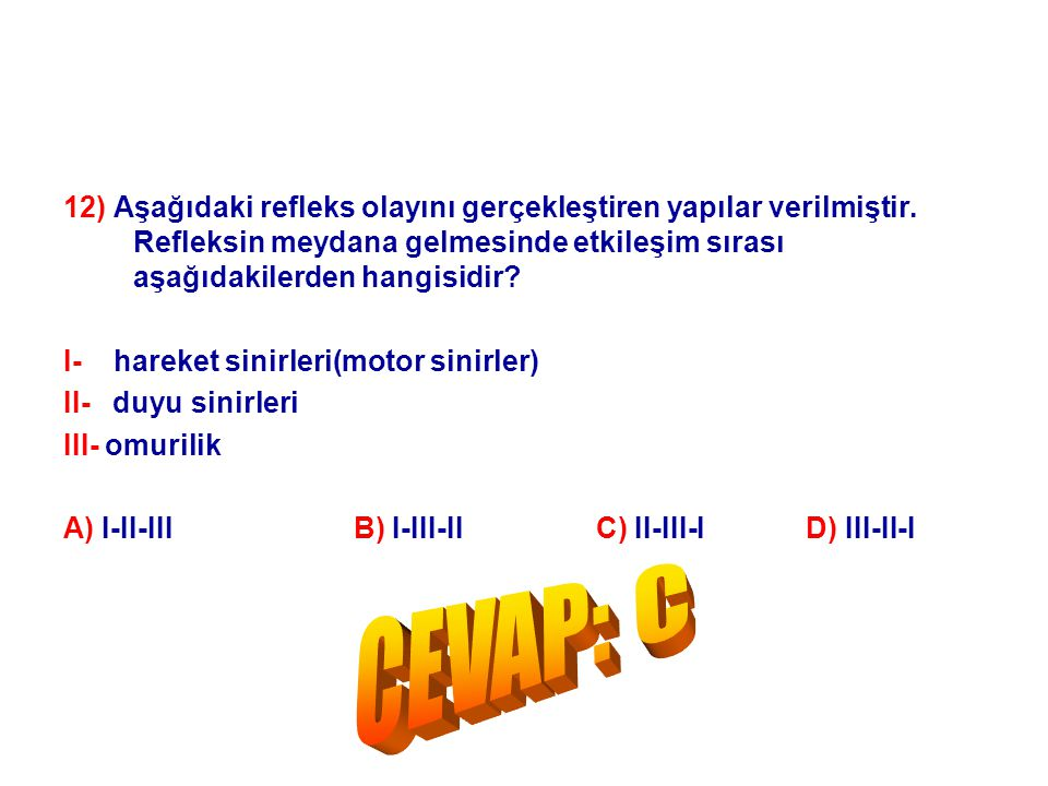 12) Aşağıdaki refleks olayını gerçekleştiren yapılar verilmiştir