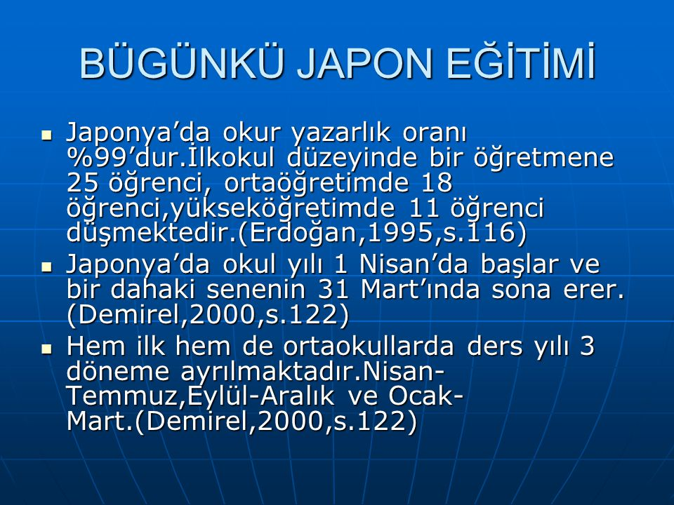 BÜGÜNKÜ JAPON EĞİTİMİ